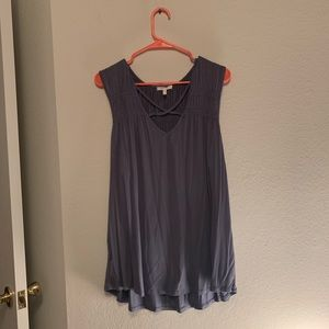 Slate Blue Strappy Tank with Sinching
